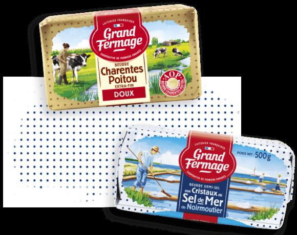 Beurre-aop-charentes-poitou-doux-et-beurre-aux-cristaux-de-sel-de-mer-grand-fermage