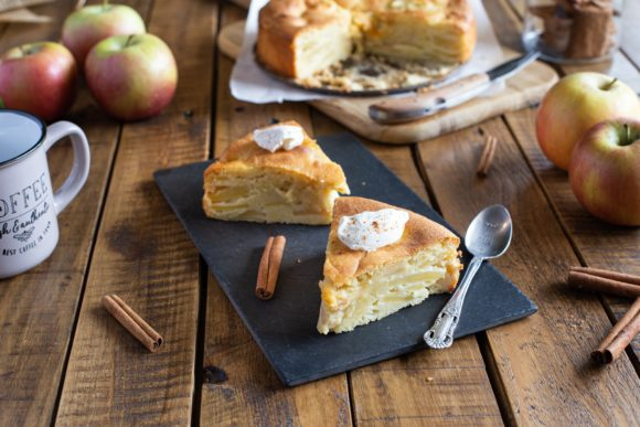 Soft moist apple cake with crème fraîche