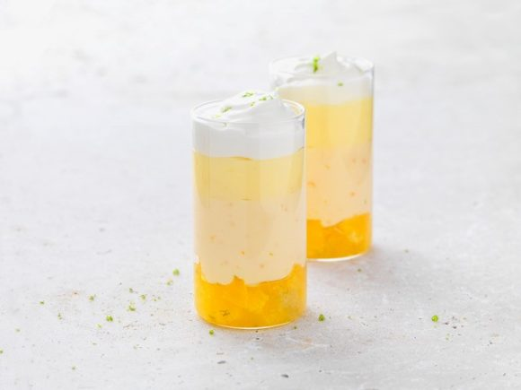 Citrus budino with crème fraîche