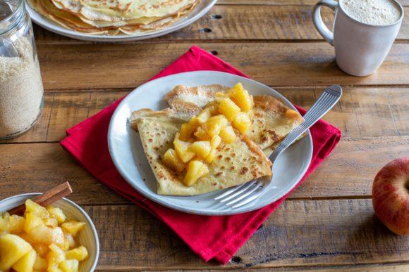 Pancake batter and caramelised apples